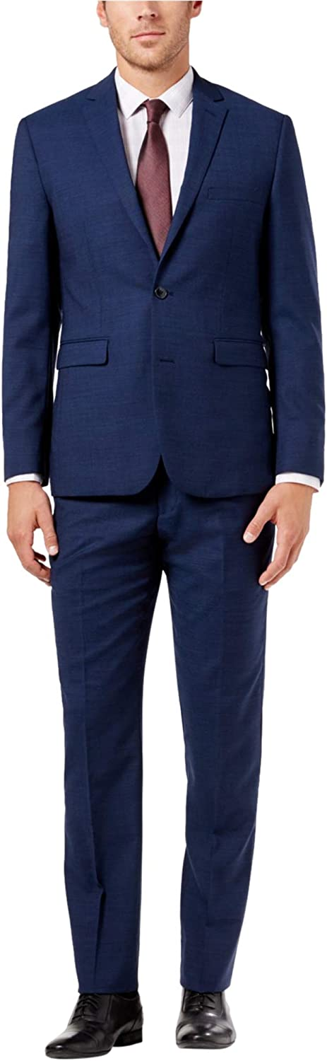 Vince Camuto Men's Modern Slim Navy Chambray Suit