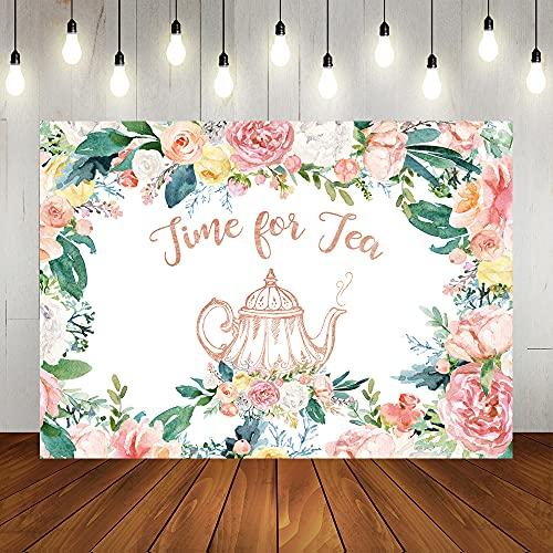 Lofaris Floral Tea Party Backdrop Let's Par Tea Happy Birthday Background Tea Theme Bridal Shower Baby Shower Wedding Party Decorations Supplies Photo Studio Props 7x5ft