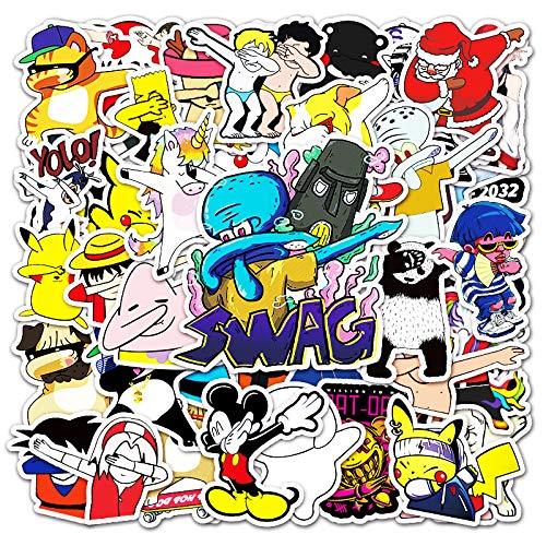 XIAMU Pegatinas de dibujos animados para cubrir la cara, gesto, graffiti para equipaje, motocicleta, monopatín, impermeables, 50 unidades