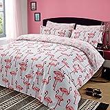 Dreamscene Bettbezug mit Kissenhülle Steppdecken-Bezug-Set, Flamingo, Tiermotiv Rosa Grau - Einzelbett