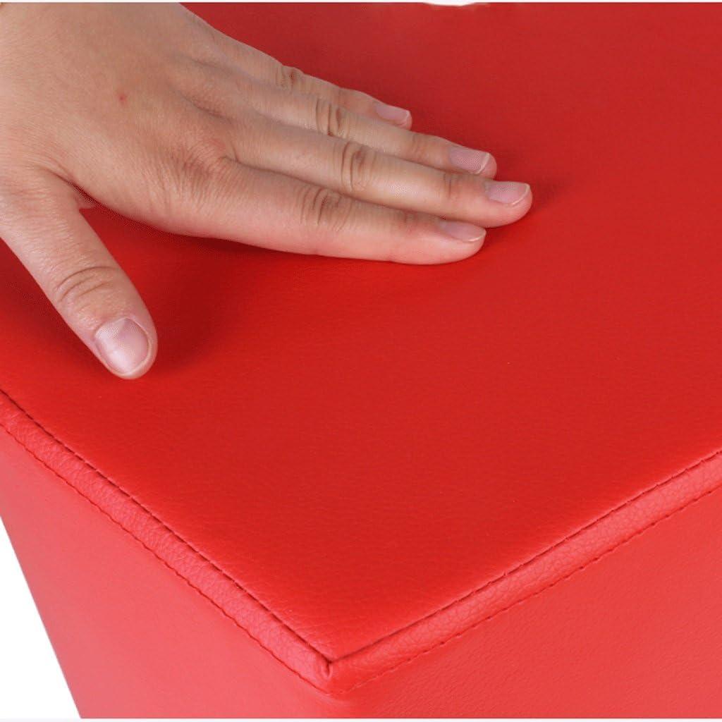 JHEY Chaussures de Mode en Forme de Coeur Banc Tabouret Tabouret en Bois Massif Tabouret en Cuir Art canapé Tabouret Table Basse Tabouret (Color : White) Red