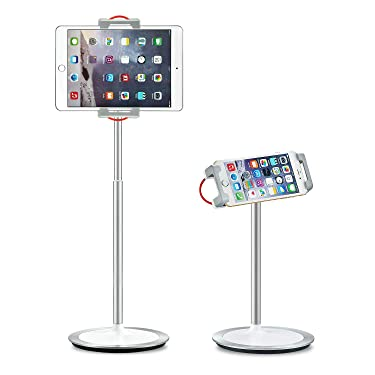 """SAIJI Tablet Stand Holder, Height Adjustable, 360 Degree Rotating, Aluminum Alloy Cradle Mount Dock for 4.7""""-12.9"""" Screen iPhone Samsung, iPad, Nintendo Switch, Kindle, eBook Reader (Silver)"""