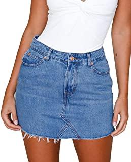 f0d82cc071 Angelegant Jean Skirt Women's High Waisted Fringed Slim Fit Elastic Bodycon  Mini Denim Skirt