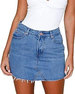 Jean Skirt Women's High Waisted Fringed Slim Fit Elastic Bodycon Mini Denim Skirt