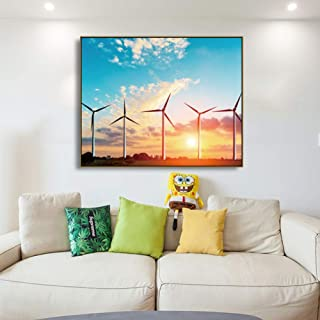 MMLUCK Canvas Painting Canvas Calligraphy Painting Wind Generators Posters and Blue Sky Sunset Wall Pictures for Living Room Home DecorLiving Room Bedroom Decoration -40x50cm