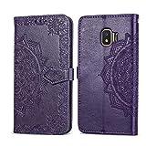 Bear Village Hülle für Galaxy J2 Core, PU Lederhülle Handyhülle für Samsung Galaxy J2 Core, Brieftasche Kratzfestes Magnet Handytasche mit Kartenfach, Violett