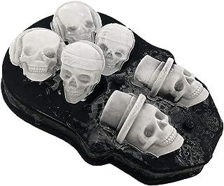 YOMYM 3D Skull Ice Mold Trays, BPA Free Silicone Ice Cube Maker Whisky Party Spooky Tool, 6 Cavity, Black