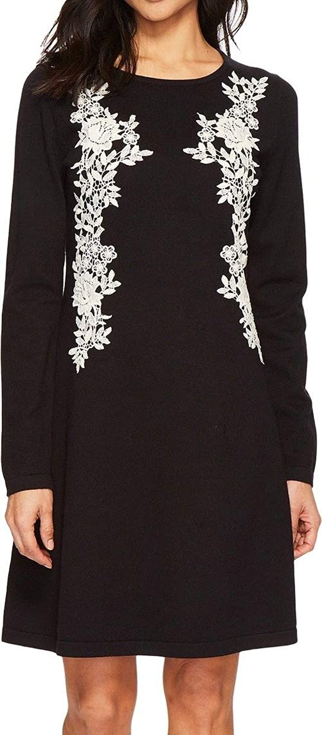 C&E CeCe Womens Embroidered Lace ALine Sweater Dress