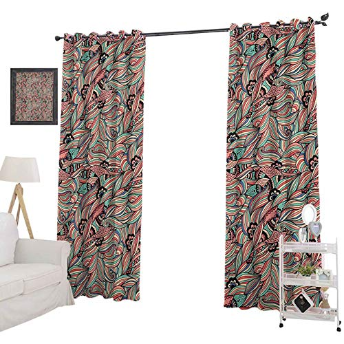 YUAZHOQI Traditional Room Darkening Curtains Blossom Spiral Petals Folk Victorian Vintage Colorful Foliage Curtains for French Doors 52' x 84', Multicolor