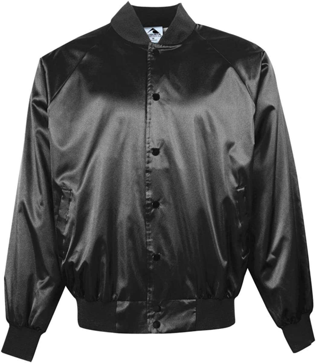 Augusta Sportswear Satin Baseball Jacket/Solid Trim