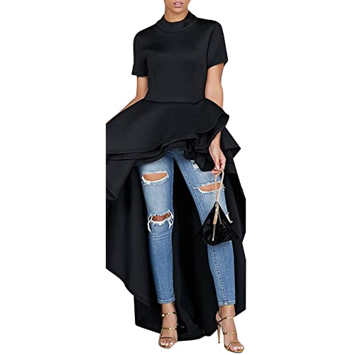 487faad1220fa1 Kearia Women Ruffle High Low Asymmetrical Turtleneck Short Sleeves Tops  Blouse Shirt Dress