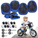 Protecciones Niños Conjuntos, Ajustable Coderas y Rodilleras para Niños, 6 en 1 Muñequeras Conjuntos de Patinaje Infantil Juego para Skate Ciclismo Patinaje Monopatín Bicicleta Skate Rodilleras Azul
