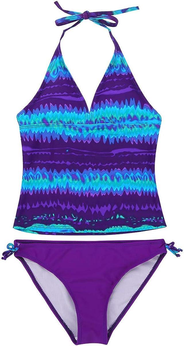Zaldita Kids Girls Tankini Set Tie-Dye 2 Piece Halter Crop Top with Bottoms Swimming Bathing Suit Beachwear