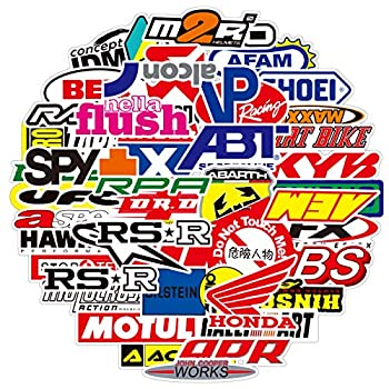 100PCS Racing Stickers Dirtbike Automotive Sticker Pack Car Brand Logo Vinyl Stickers Auto Waterproof Stickers and Decals for Motorcycle Car Automotive Offroad Decoration
