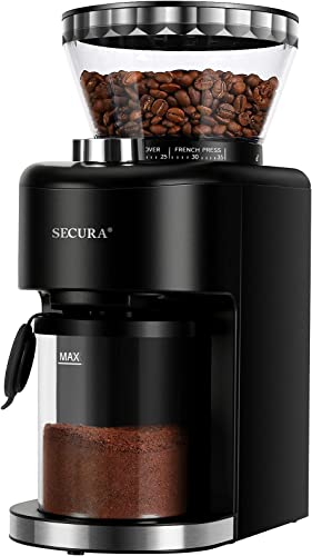 discount Secura Conical Burr Coffee Grinder, Adjustable Burr Mill 2021 with 35 Grind Settings, Electric Coffee Bean Grinder new arrival for 2-12 Cups online sale