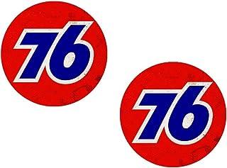 #028 / 2x 76 Vintage Aufkleber je D=8,5cm Old School Oldtimer Retro Racing Rennsport Öl