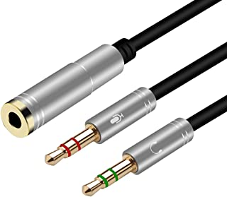 Yeung Qee Hoofdtelefoon Splitter 3.5mm Vrouwelijke naar 2 Dual 3.5mm Mannelijke Hoofdtelefoon Mic Audio Y Splitter Kabel v...