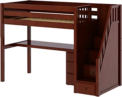 Maxtrix Solid Hardwood Twin-Size Low Loft Bed with Storage Staircase Entry, Integrated Desk