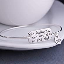 She Believed She Could So She Did Bangle Bracelet 2019 Inspirational Jewelry Gift for Her Graduation Gift