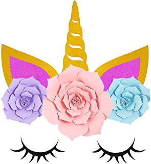 LUOEM Unicorn Party Decorations Backdrop 3D Gold Unicorn Flower Backdrop with Large Horn Ears Eyelashes Face Flower DIY Birthday Party Props for Birthday Party Engagement Wedding Decorations