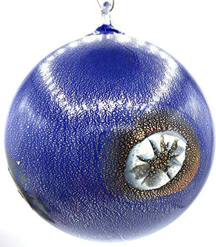 Pallina di Natale in Vetro di Murano Colori in Pasta con Foglia Oro zecchino Made in Italy (Blu)