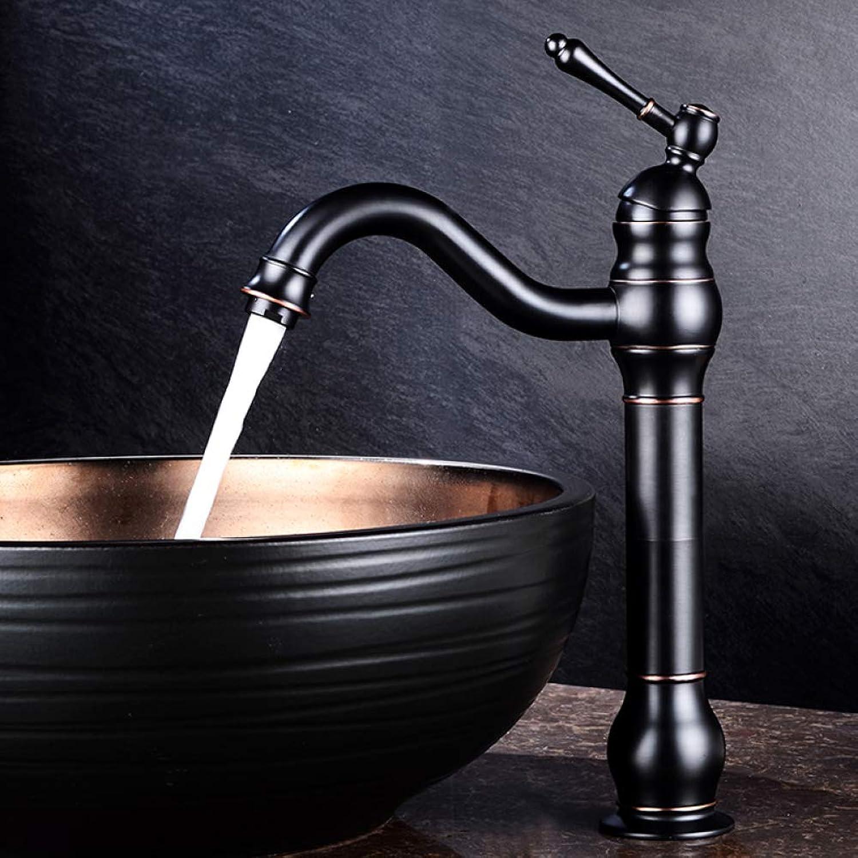 ZXY Bathroom Sink Taps Black single handle wash basin hot and cold mixed faucet European bathroom antique copper faucet single hole basin faucet