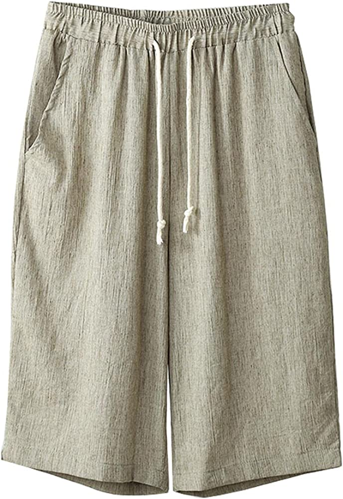 SCOFEEL Women's Cotton Linen Cropped Pants Elastic Waist Casual Bermuda Shorts Loose Trousers Pants