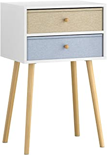 LANGRIA Bedside Table Nightstand End Table with Fabric Storage Drawer Pine Wooden Table for Bedroom Study and Fashion 15.7 x 11.7 x 22.4 inches (Yellow&Light Blue)