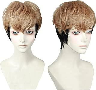 Cfalaicos Men's / Boy's Short Golden Brown Black Mixed Cosplay Wig