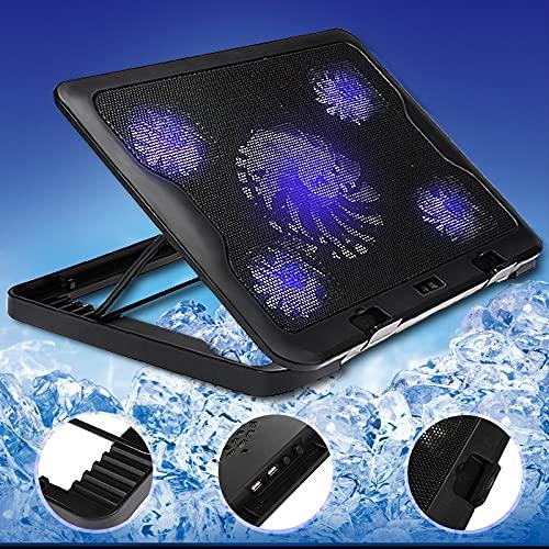 5 fans USB Almohadilla ajustable de enfriamiento para portátil portátil 7-17 pulgadas Soporte Pad para computadora portátil ORDENADOR PERSONAL Cooler USB para cuaderno + USB Cable Enfriador Ventilador