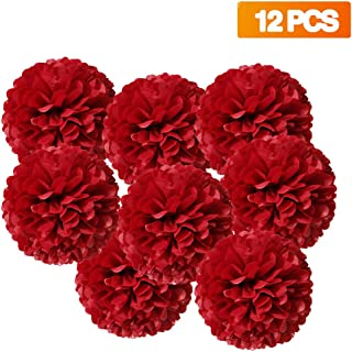 NIQU 12 Inch Tissue Paper Pom Poms Party Decorations,Red,Pack of 12