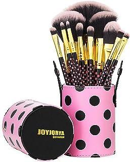 Professional Makeup Brushes Set - 11 Pcs Pink a Dot Makeup Brush Sets With Travel Case/Make Up Foundation/Powder/Eye Shadow/Concealer/Brush
