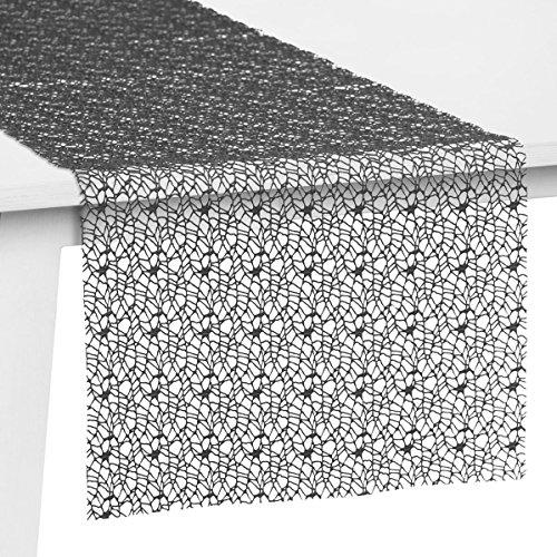 Pichler Tischset Tischband Tischläufer Mitteldecke Network, Graphit, Größe:Tischband 30 x 260 cm