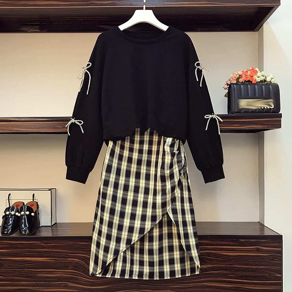 UXZDX Plus Size Women Tracksuit Pullover Top and Skirt Two Piece Set Female Sport Suit Autumn Black (Color : Black, Size : Large)