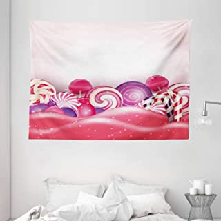 Modern Tapestry, Cute Rainbow-Swirl Lollipop Candy Children Yummy Nursery Design, Wall Hanging for Bedroom Living Room Dor...