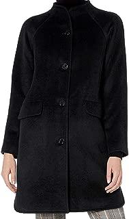 Lark & Ro Women's Coat Black US 0 Wool Blend Button Down Funnel Neck