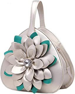 Trendy Lady Diamond Flower Tote Ethnic Style Shoulder Bag Zgywmz (Color : Champagne, Size : 23 * 11 * 23cm)