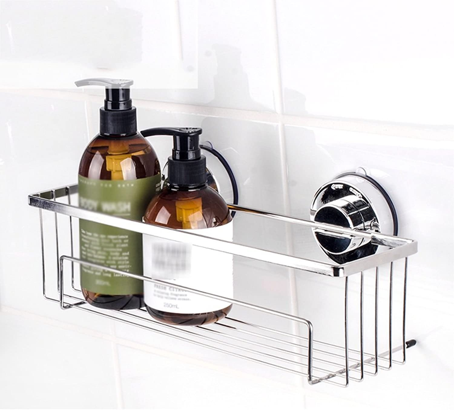 RFJJAL Bathroom Shelf Stainless Steel Silver Suction Wall Hanging Storage Shelf Toilet Bathroom Sink Rack No Drilling, 30  8  8.5cm