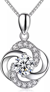 Necklace,925 Sterling Silver with 5A Cubic Zirconia Pendant Necklace Jewelry, Gift for Women