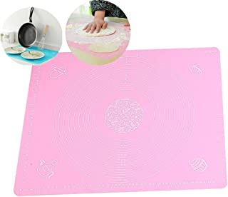 DYQWT Large Massive Pastry Fondant Silicone Work Rolling Baking Mat with Measurements,19x16inches,Pink