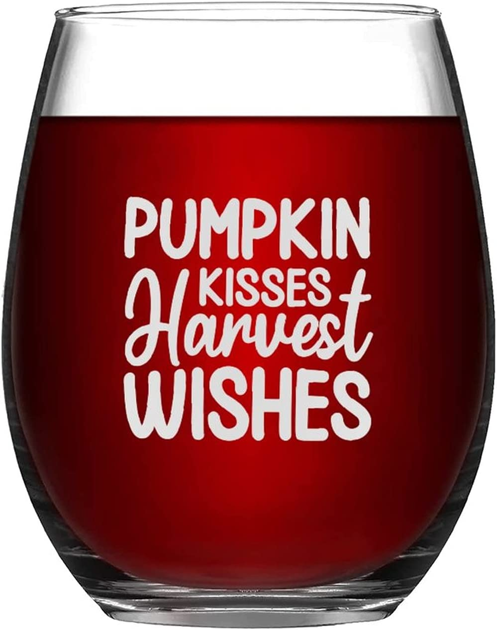 Stemless Manufacturer OFFicial shop Wine Glass Pumpkin Kisses High quality Harvest Happy Wishes Glasses
