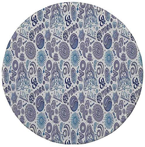 Rutschfreies Gummi-rundes Mauspad Yoga dekoratives Mandala-Blumenarrangement Paisleys ostasiatische Kulturmotive Dunkelviolett Blau Weiß 7.9