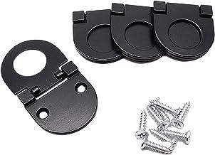 Sydien 4 Pcs Modern Flush Ring Pull Door Drawer Handle for Cabinet Cupboard Drawer Dresser (5mm, Black)