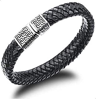 2105 Fashion Tatainum Steel Leather Specical Men Bracelet as Gift for Male b47 PH938[Length 18.5cm]
