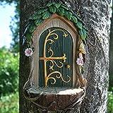 Prezents.com Fairy Garden UK Feentür mit Landeplatz, Baum, Garten, Heimdekoration – Mini-witzige Geschenkfigur – kleine Höhe 14 cm
