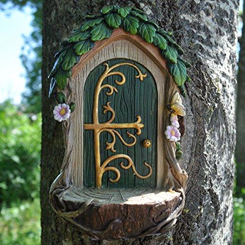 Adorno de resina con forma de puerta de hadas con plataforma de aterrizaje (alto: 14 cm); figurita de regalo poco convencional