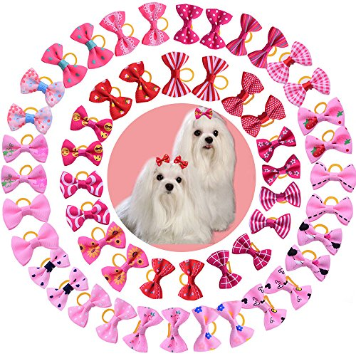 yagopet 50pcs/25 Pairs New Dog Hair Bows Red Rose Pink for Girls Dog Topknot with Rubber Bands Durable Small Bowknot Pet Grooming Products Accessories Review