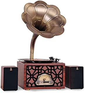 CHUXJ with Cassette Big Vintage Retro Classic Gramophone Phonograph Shape Stereo Speaker Sound System Music Box 3.5mm Audi... photo