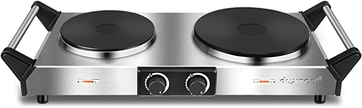 Duxtop Hot Plate, Portable Electric Cooktop Cast Tron Stovetop, Stainless Steel Electric Double Burner with Handles, Adjus...