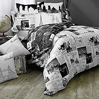 Bed Lam Passport London and Paris Reversible Twin Duvet Cover Set in Black/White